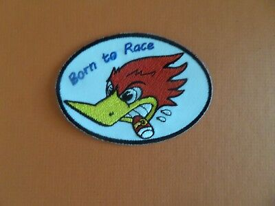 """BORN TO RACE""""WOODPECKER   white & RED Embroidered 2-1/2 x 3-3/4 Iron On Patch"""