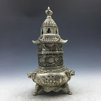 Favorites China Ancient Tibet Silver Beautifully carved stupa incense burne a518