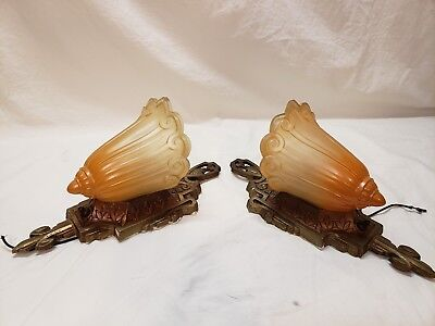 Lincoln Art Deco Slip Shade Sconce Wall Light Ford Orange Tulip Glass 2 Availabl