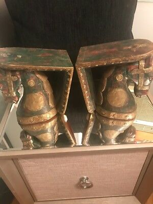 Horse Sconces Hand Carved Wood Pair with Copper and Brass Org $ 450.00