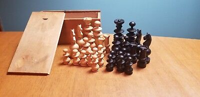 Vintage Hand Carved Wood Chess Set Pieces in wooden box made in France