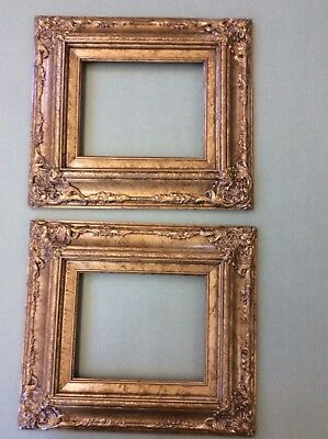 Pair of 8 X 10 Wide Ornate  Baroque  Picture or Mirror Frame in Antique Gold