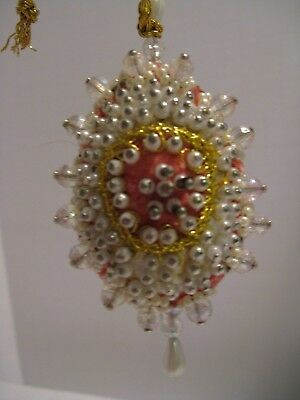 "Vintage Victorian Peach Velvet Beaded Hand Made Christmas Ornament 4"" long"