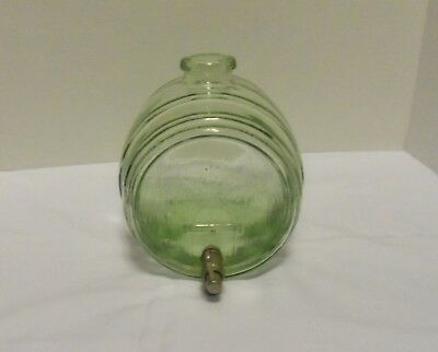 "Green Glass Barrel Keg Shaped Figural Bottle Decanter with Metal Tap 8""x7""x 5.5"""
