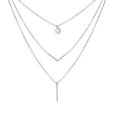 SILVER MOUNTAIN S925 Sterling Silver Triple Layer Pendant Choker Necklace for...