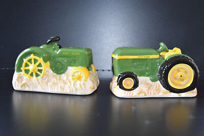 Set of Authentic John Deere Tractor Ceramic Salt & Pepper Shakers
