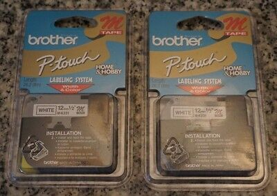 "NEW OEM Brother M231 1/2"" (12mm) Black on White P-touch M Tapes Lot of 2 FR/SHP"