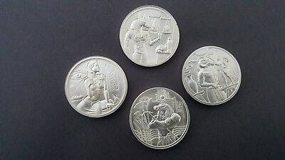 Egyptian Gods Series all 4 Ultra High Relief 2 OZ silver rounds Collection.