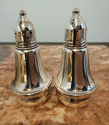 "Sterling Salt & Pepper Shakers weighted Duchin Creation 4"" tall Glass lined"