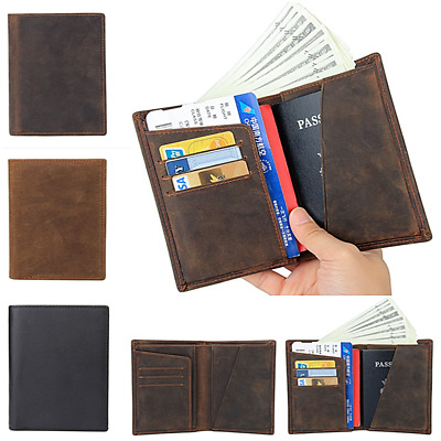 New Men's Genuine Leather Travel Wallet Ticket Card Passport Case Holder Folder