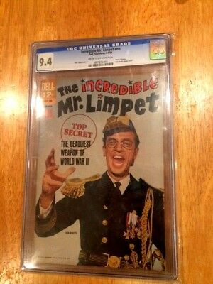 """MOVIE CLASSICS """"INCREDIBLE MR. LIMPET"""" (Jun-Aug 1964 Dell) CGC 9.4! + Raw Issue!"""
