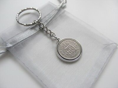 George VI Lucky Charm Sixpence Keyring With Gift Bag 1947 To 1951 Choose Date