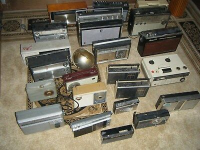 Bulk lot vintage old radios for parts repair Spidola Sony Phillips National ect.