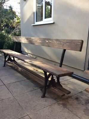 Two large antique Pitch Pine & cast iron school benches