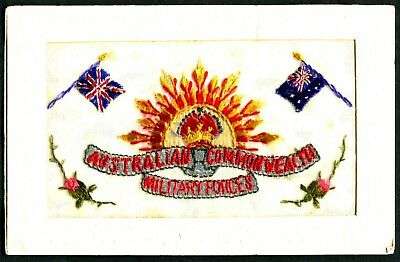 WW1 Embroidery postcard Australian Commonwealth Military Forces badge flag
