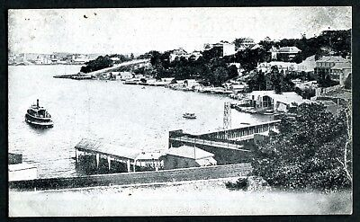 Old postcard Lavender Bay Sydney ferry boats wharf about 1910 I think