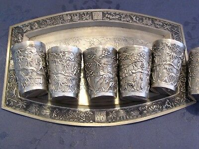 Argent Massif Chinese Export Silver Tray Plateau Et Gobelets A Liqueur