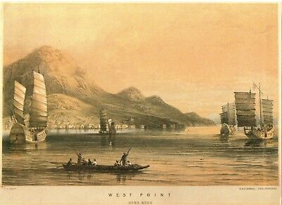 """Print on card - """"West Point, Hong Kong"""" with sailing ships (approx 210mmx150mm)"""