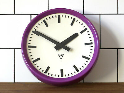 running old Pragotron factory wall clock - RESTORED - RAL 4008 - vintage retro