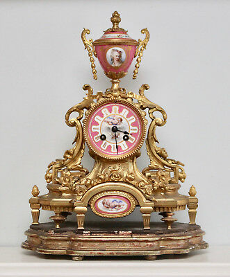 A Magnificent Antique c19th Striking Clock, Le Roy & Fils, Sèvres Panels, Ormolu