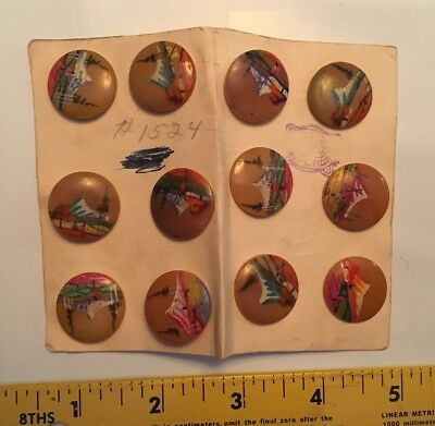 Beautiful Hand Painted Vintage / Antique Buttons - Asian Theme; Bakelite?