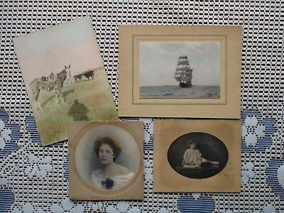 Small Antique to Vintage Lot of 4 Hand-Tinted Artist Studio Photos ~ Few Signed