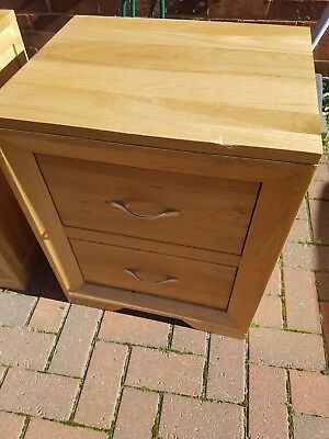 Oak2 Drawers Bedside Cabinet Light Table Solid Wood Bedroom Nightstand