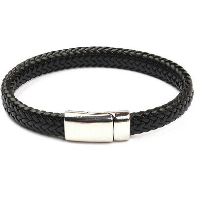 Men Leather Stainless Steel Magnetic Clasp Braided Wristband Bracelet Bangle Hot