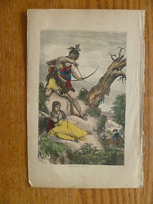 """American Indian Warrior- Engraving-1870-Hand Colored- """" The Defense """""""