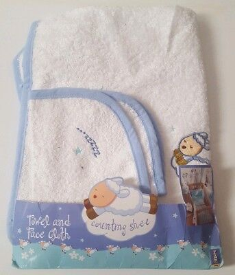 Baby Soft White And Blue Towel And Face Wash Cloth Flannel Bath Set