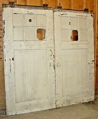 Antique Industrial / Business / Work shop Sliding wood track doors - 8ft Tall