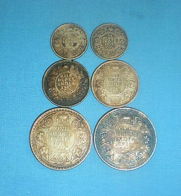 6 Indian Silver Coins 1913 - 1919 Rupee