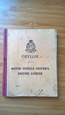 Authentic Ceylon driver's licence 1956