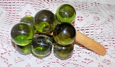 """Vintage  Lucite Acrylic Glass Grapes Large Green on Driftwood  9"""" long"""