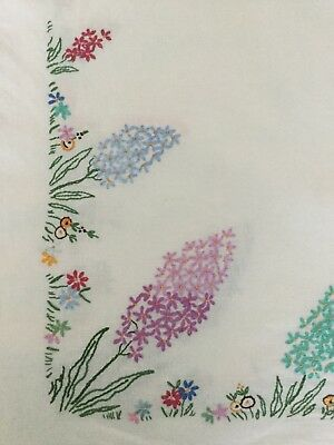 Beautiful floral vintage hand embroidered tablecloth. 50 x 50 inches