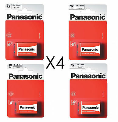 4 x Panasonic 9V PP3 Zinc Carbon Batteries, 9 Volt Smoke Alarms, LR22, MX1604