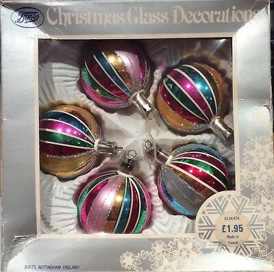 Set of 5 Old Glass Vintage Christmas Tree Baubles / Decorations from Boots boxed