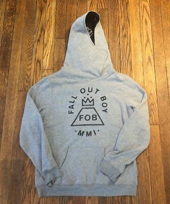 Fall Out Boy ManHead Women's Size Large Gray Music Band Light Weight Hoodie
