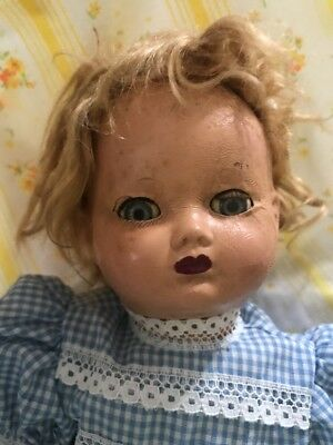 """Sleepy Eyed Composition Doll Approx 12"""" Fully Dressed"""
