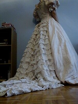 """1980 """"Diana designs"""" wedding dress, pure silk, victorian style, made in uk"""