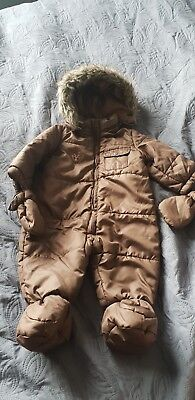 Baby snowsuit 6-9 months with attached gloves