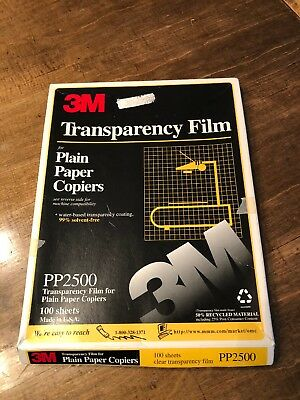 Transparency Film Sheets For Plain Paper Copiers 3M 100 Count Pp2500
