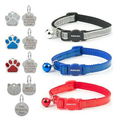 Cat Collar Reflective Gloss Safety Release Red Blue Silver Optional Engraved Tag