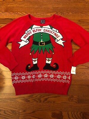 Nwt Ugly Christmas Sweater By Well Worn Merry Elfin Christmas Elf