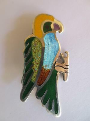 Vintage Mexican Sterling Silver & Colorful Enameled Parrot Pin/brooch