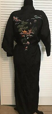 Vintage 'Double Peach' Black Kimono Robe Satin Embroidered China Size M
