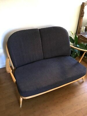 Vintage Ercol Windsor 203 2 Seat Sofa Beech Wood Dark Grey Cushions REFURBISHED