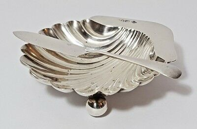 Antique Victorian 1897 Solid Silver Clam Shell Butter Caviar Dish & Knife