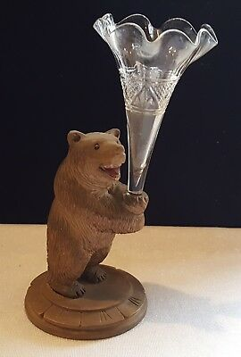 Black Forest carved oak & clear glass vintage Victorian antique bear design vase