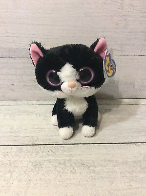 "Ty Beanie Boo Pepper Retired Black & White Cat 6"" Purple Tag, Solid Pink Eyes"